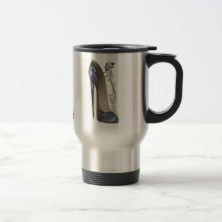 Rhapsody in Blue Stiletto and Butterfly Music Art Travel Mug