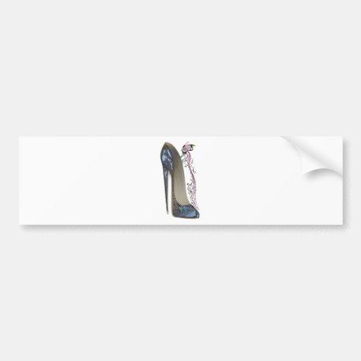 Rhapsody in Blue Stiletto Shoe Art Bumper Stickers