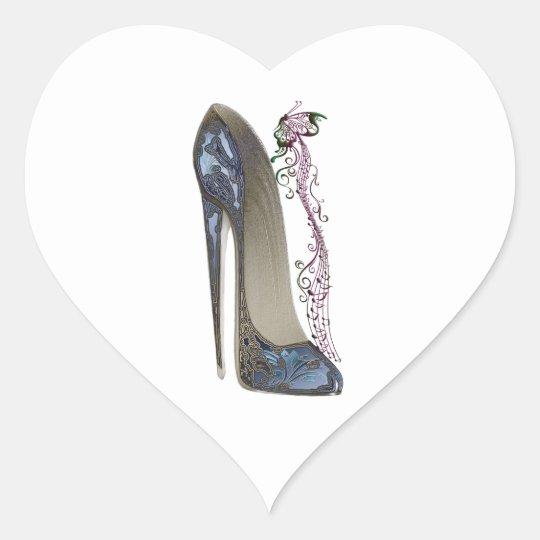 Rhapsody in Blue Stiletto Shoe Art Heart Sticker