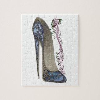 Rhapsody in Blue Stiletto Shoe Art Jigsaw Puzzle