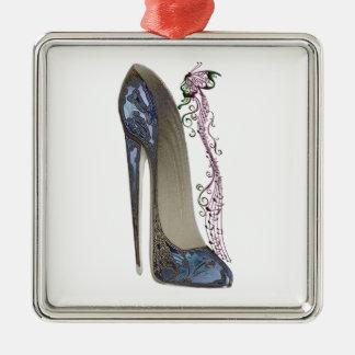 Rhapsody in Blue Stiletto Shoe Art Metal Ornament