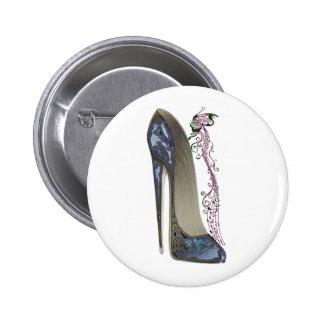 Rhapsody in Blue Stiletto Shoe Art Pinback Button