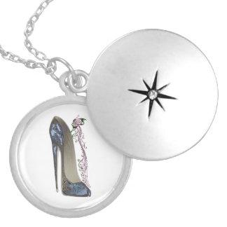 Rhapsody in Blue Stiletto Shoe Art Silver Plated Necklace