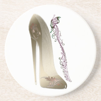 Rhapsody in Gold Stiletto and Butterfly Music Art Sandstone Coaster