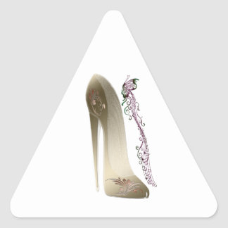 Rhapsody in Gold Stiletto and Butterfly Music Art Triangle Sticker