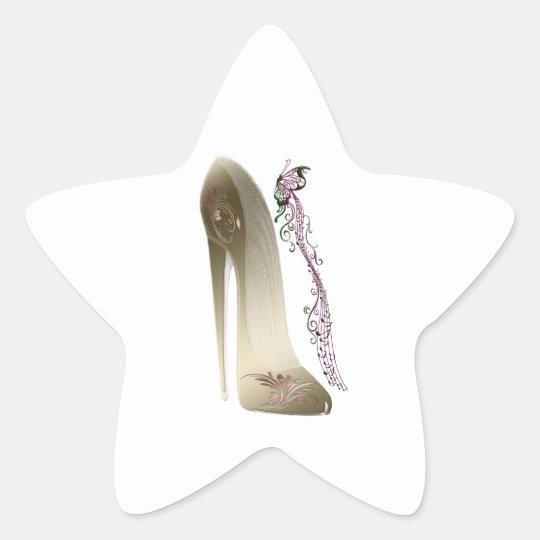 Rhapsody in Gold Stiletto Shoe Art Star Sticker