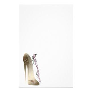 Rhapsody in Gold Stiletto Shoe Art Stationery Paper