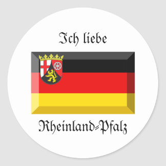 Rheinland-Pfalz Flag Gem Classic Round Sticker