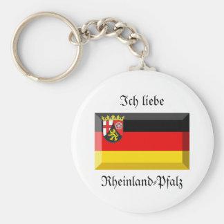 Rheinland-Pfalz Flag Gem Basic Round Button Keychain