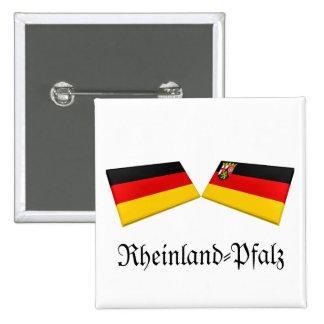 Rheinland-Pfalz, Germany Flag Tiles Pinback Button
