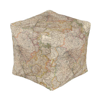 Rhenish Prussia, Westphalia, HesseNassau Cube Pouf