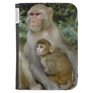 Rhesus Macaques Macaca mulatta) mother & baby Kindle 3G Covers