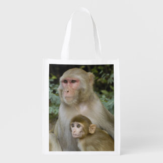 Rhesus Macaques Macaca mulatta) mother & baby Grocery Bags