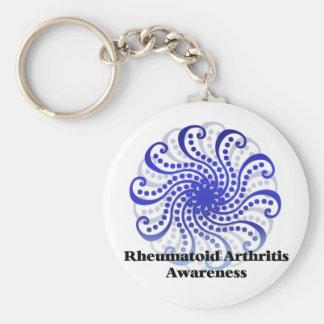 Rheumatoid Arthritis Awareness Blue Design 6 Basic Round Button Keychain