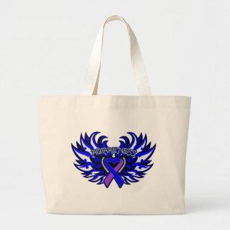 Rheumatoid Arthritis Awareness Heart Wings Canvas Bags