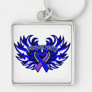 Rheumatoid Arthritis Awareness Heart Wings Silver-Colored Square Keychain