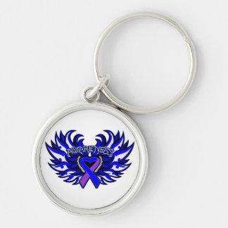 Rheumatoid Arthritis Awareness Heart Wings Silver-Colored Round Keychain