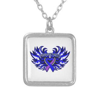 Rheumatoid Arthritis Awareness Heart Wings Square Pendant Necklace