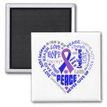 Rheumatoid Arthritis Awareness Heart Words 2 Inch Square Magnet