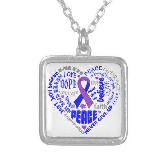 Rheumatoid Arthritis Awareness Heart Words Square Pendant Necklace