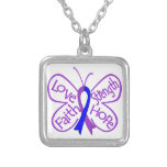 Rheumatoid Arthritis Butterfly Inspiring Words Square Pendant Necklace