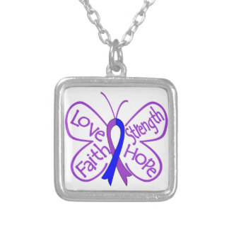 Rheumatoid Arthritis Butterfly Inspiring Words Square Pendant Necklace
