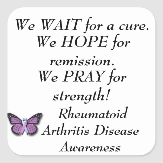 Rheumatoid Arthritis Disease Awareness. Square Sticker