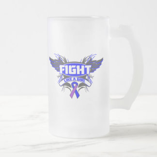 Rheumatoid Arthritis Fight Like a Girl Wings.png 16 Oz Frosted Glass Beer Mug
