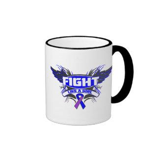 Rheumatoid Arthritis Fight Like a Girl Wings.png Ringer Coffee Mug
