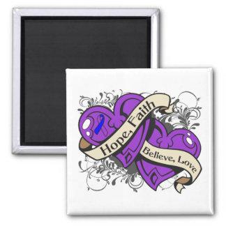 Rheumatoid Arthritis Hope Faith Dual Hearts 2 Inch Square Magnet
