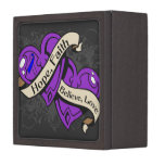 Rheumatoid Arthritis Hope Faith Dual Hearts Premium Keepsake Box