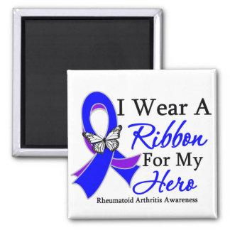 Rheumatoid Arthritis I Wear a Ribbon For My Hero 2 Inch Square Magnet