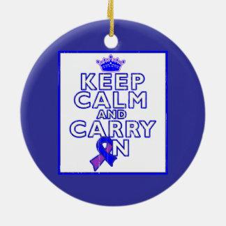 Rheumatoid Arthritis Keep Calm and Carry ON Double-Sided Ceramic Round Christmas Ornament