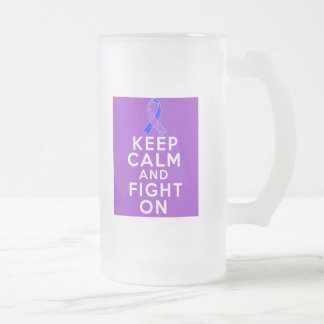 Rheumatoid Arthritis Keep Calm and Fight On 16 Oz Frosted Glass Beer Mug