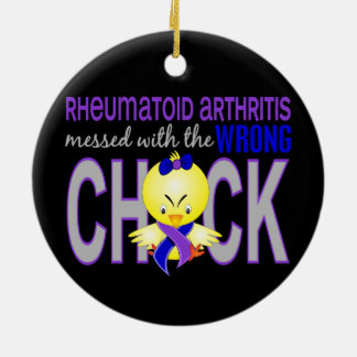 Rheumatoid Arthritis Messed With Wrong Chick Double-Sided Ceramic Round Christmas Ornament