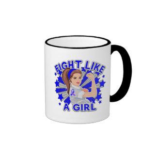 Rheumatoid Arthritis Mod Rosie Fight Like a Girl Ringer Coffee Mug