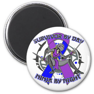 Rheumatoid Arthritis Survivor By Day Ninja Night 2 Inch Round Magnet