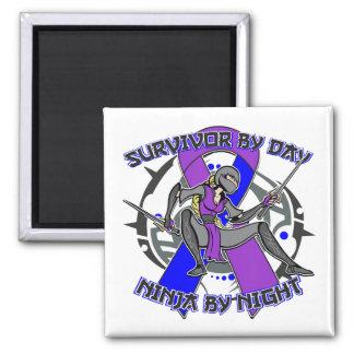 Rheumatoid Arthritis Survivor By Day Ninja Night 2 Inch Square Magnet