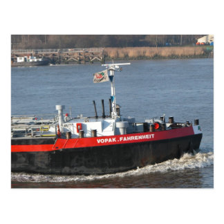 Rhine barge, bow wave from tanker barge postcard