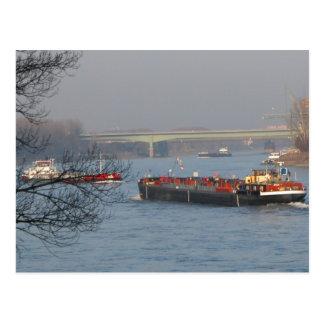 Rhine barge, Busy river traffic Postcard