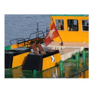 Rhine barge, Flying the Swiss flag Postcard