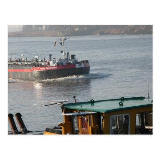 Rhine barge, Tanker approaching Postcard