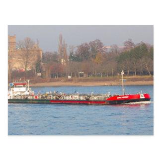 Rhine barge, Tanker passing Antwerp Postcard