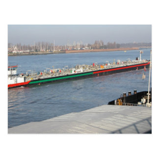 Rhine barges, Double length tanker barge Postcard