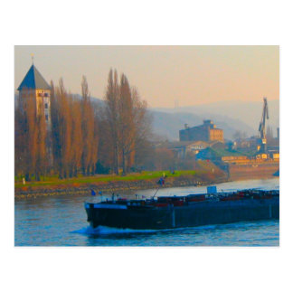 Rhine barges, Going up river Postcard