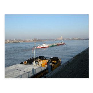 Rhine barges, Heading into the estuary Postcard