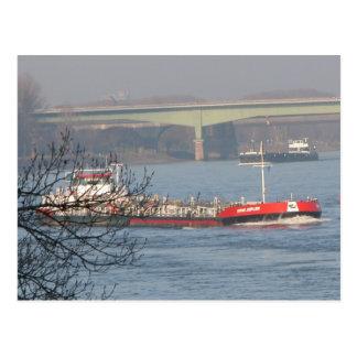 Rhine barges, Swiss barge Postcard