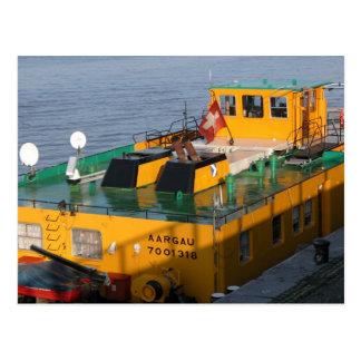 Rhine barges, Swiss pusher tug Postcard