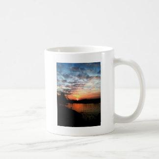 Rhine river Germany Sunset and bird feeding. Coffee Mug