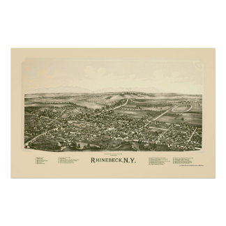 Rhinebeck, mapa panorámico de NY - 1890 Impresiones